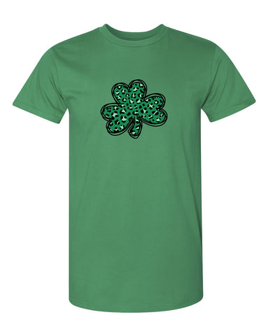 Leopard Shamrock Clover St. Patrick's Day Unisex Short Sleeve Shirt Irish Green M