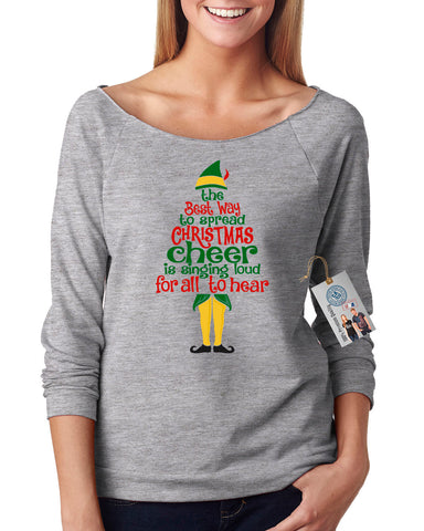 Elf Spread Christmas Cheer Off Shoulder Terry Top
