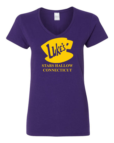 Luke's Diner Stars Hollow CT Gilmore Girls Womens V Neck T-Shirt Purple Small