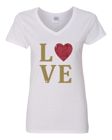 Love Heart Gold Glitter Womens V Neck