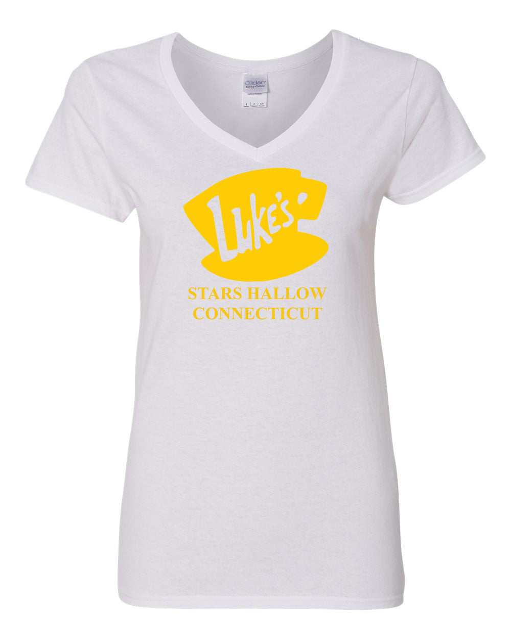 1d7c1ce4 Luke's Diner Stars Hollow CT Gilmore Girls Womens V Neck T-Shirt Top