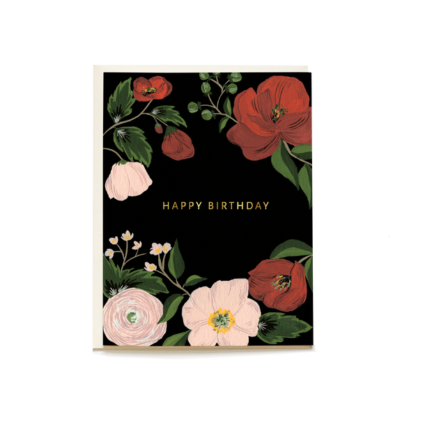 Midnight Floral Birthday Card