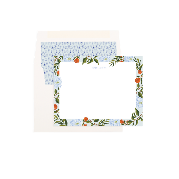 Orange Blossom Personalized Flat Notes