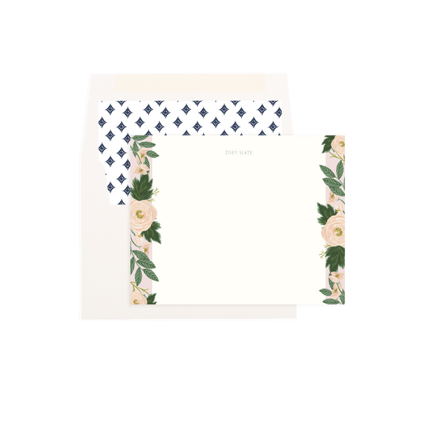 Pink Garden Rose Personalized Flat Notes