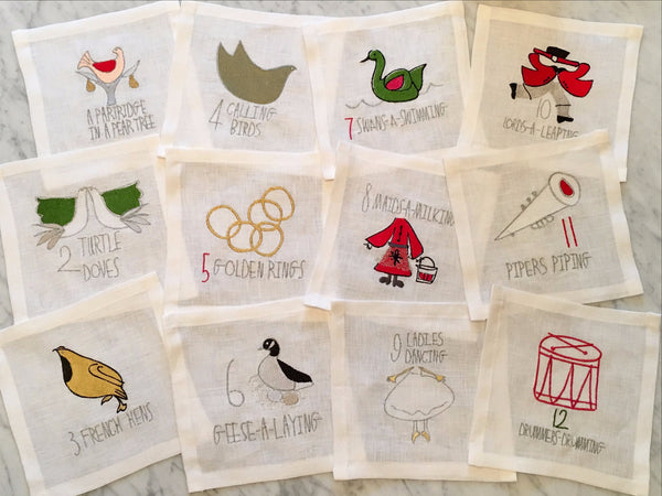 12 Days of Christmas Cocktail Square Set and Napkin Set