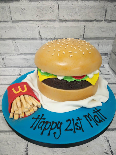 21st Birthday Cake - Burger Time!