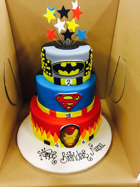 Childrens Birthday Cake - Batman, Superman, Ironman