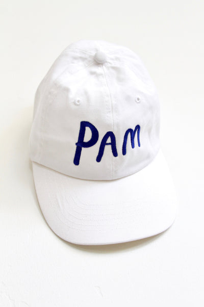 PAM, WHITE DENIM BASEBALL HAT