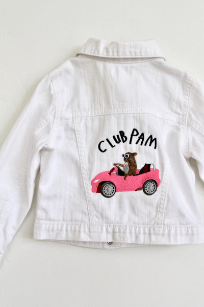 CLUB PAM, EMBROIDERED KIDS 4T WHITE DENIMJACKET