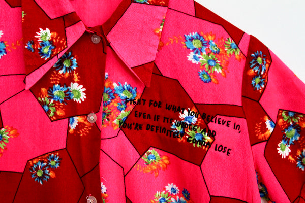FIGHT FOR WHAT YOU BELIEVE IN, VINTAGE NEON BUTTON UP