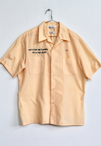 WAKE UP, VINTAGE LIGHT ORANGE BUTTON UP