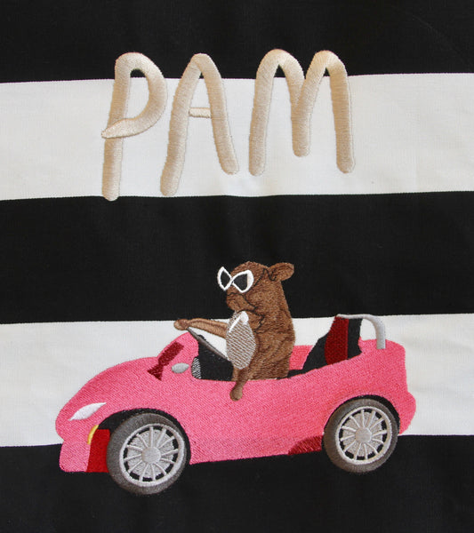PAM CRUISE, giant embroidered patch.. B+W stripe edition