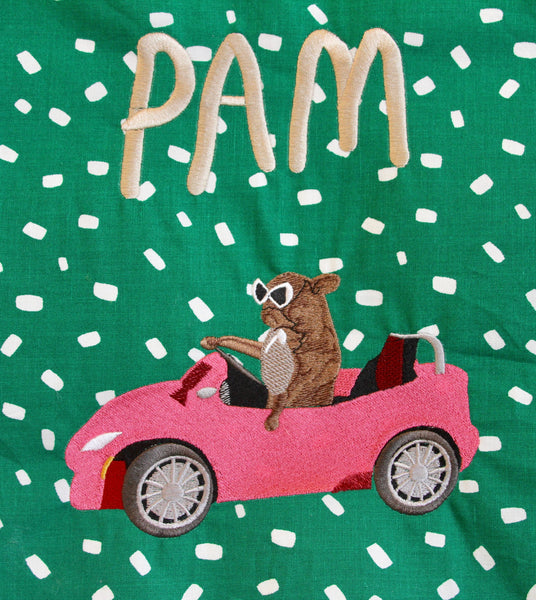 PAM CRUISE, giant embroidered patch.. green spot edition