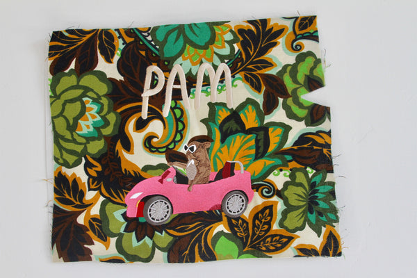 PAM CRUISE, giant embroidered patch.. . ornamental green edition