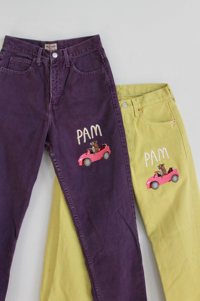 Embroidered Purple Guess Jeans