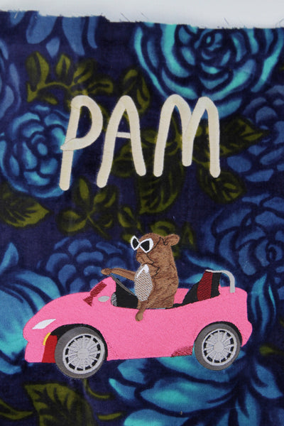 PAM CRUISE, Giant Embroidered Patch.. floral velvet edition