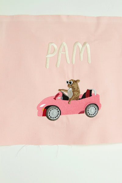 PAM CRUISE, giant embroidered patch.. . pink denim edition