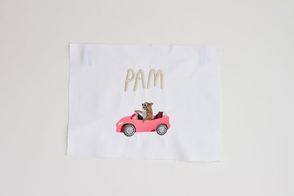 PAM CRUISE, giant embroidered patch. .. white denim edition