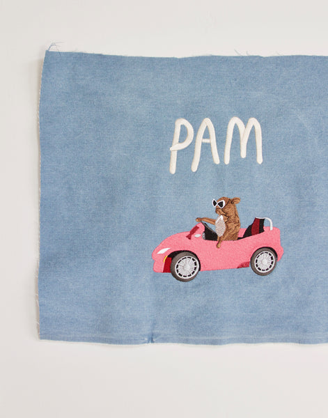 PAM CRUISE, giant embroidered patch.. . blue denim edition
