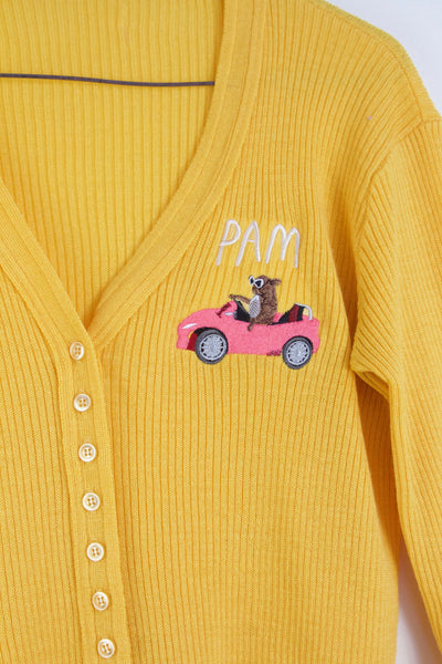 PAM CRUISE, yellow embroidered Cardigan