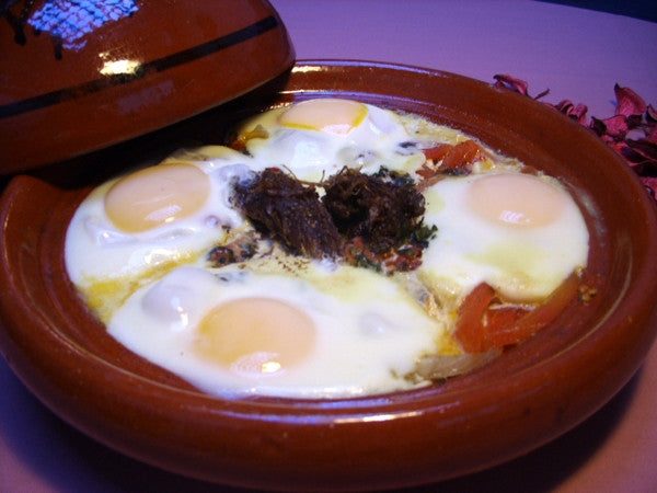 Tajine of Khlii, Eggs, Onions