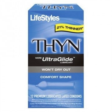 Lifestyles Thyn Lubricated Condoms - 12 Pack