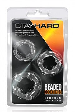 Stay Hard Beaded Cockrings - 3 Pack- Clear