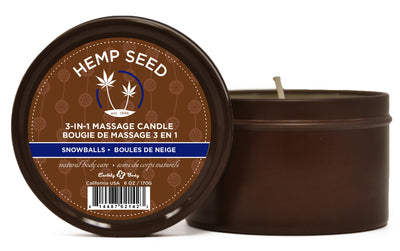 3 in 1 Snowballs Candle With Hemp - 6 Oz. EB-HSC095