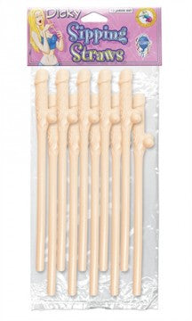 Bachelorette Party Favors Dicky Sipping Straws - Flesh 10 Piece - undercoverparadise.com
