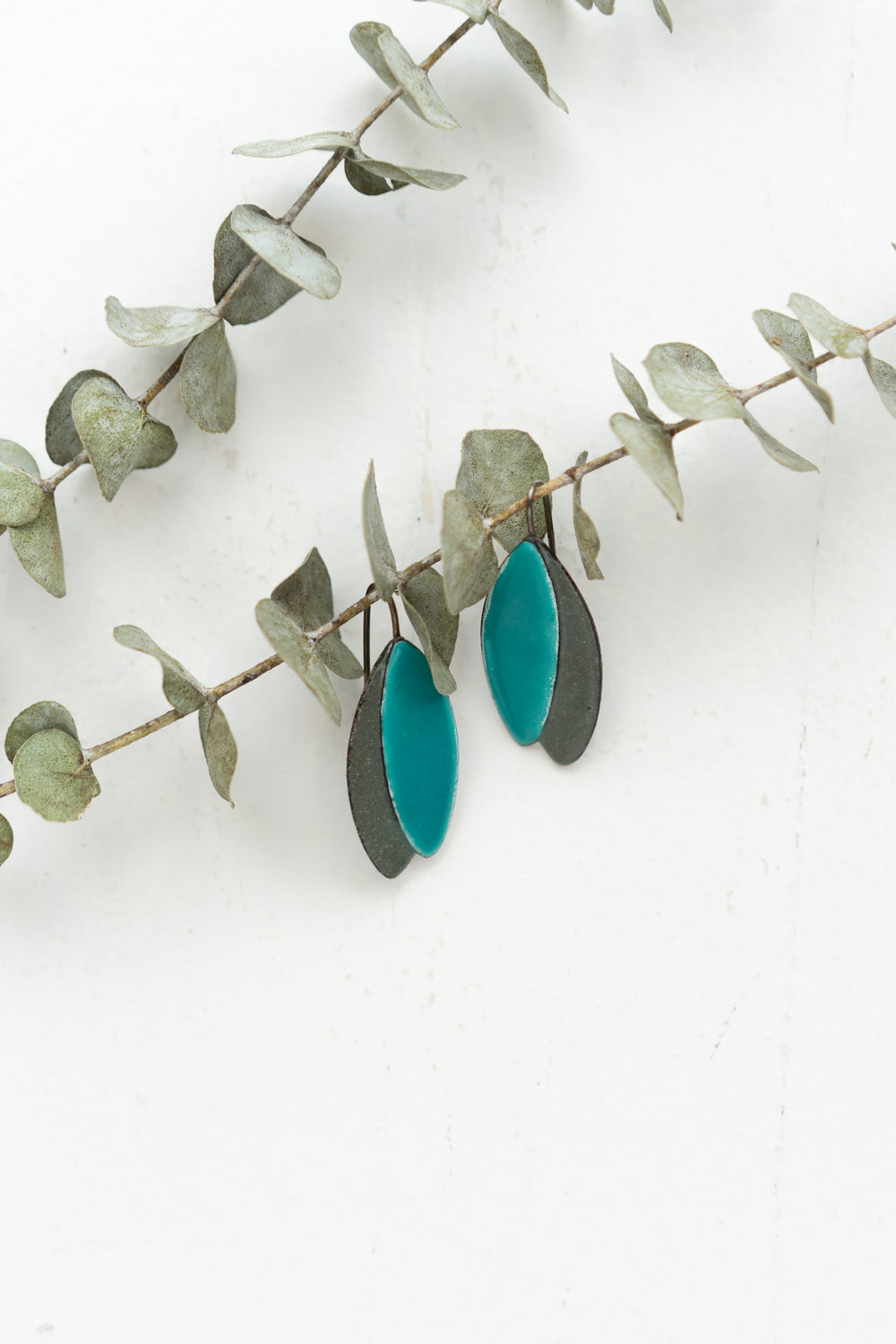 Leaves Earrings, Turquoise and Grey