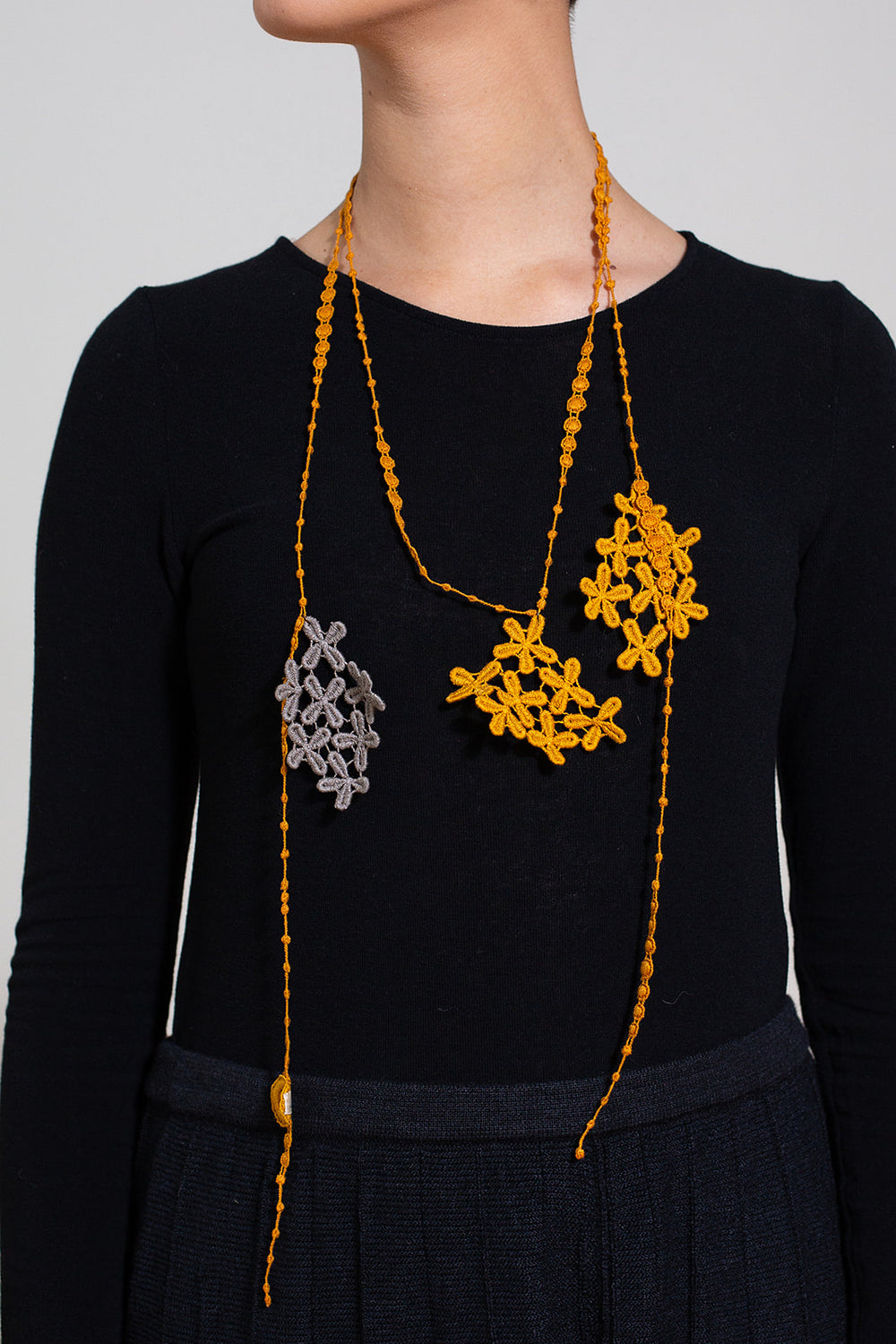 Cotton Lace Necklace, Mustard and Grey