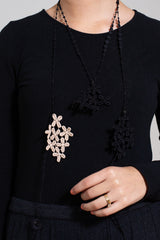 Cotton Lace Necklace, Black with Beige