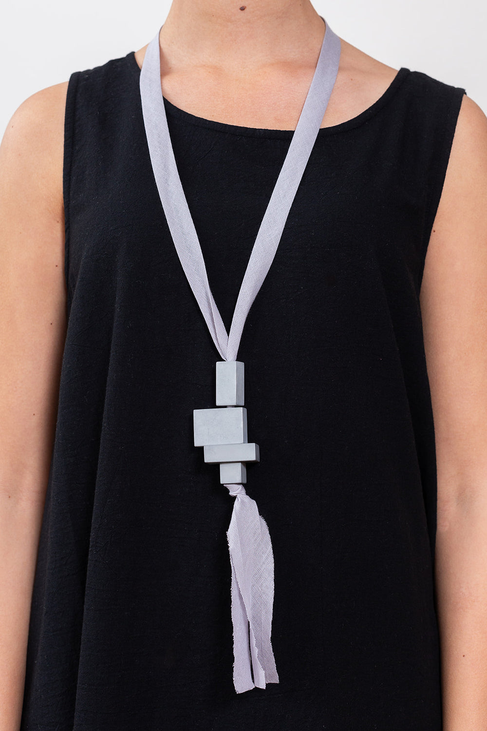Pendant Block Necklace, Grey