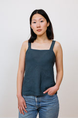 Linen Bias Top Blue
