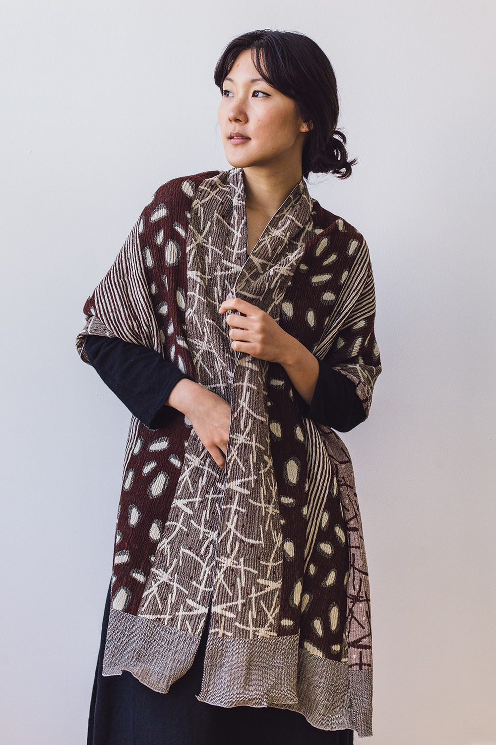 Watayuki Wool Shawl, Brown/Beige