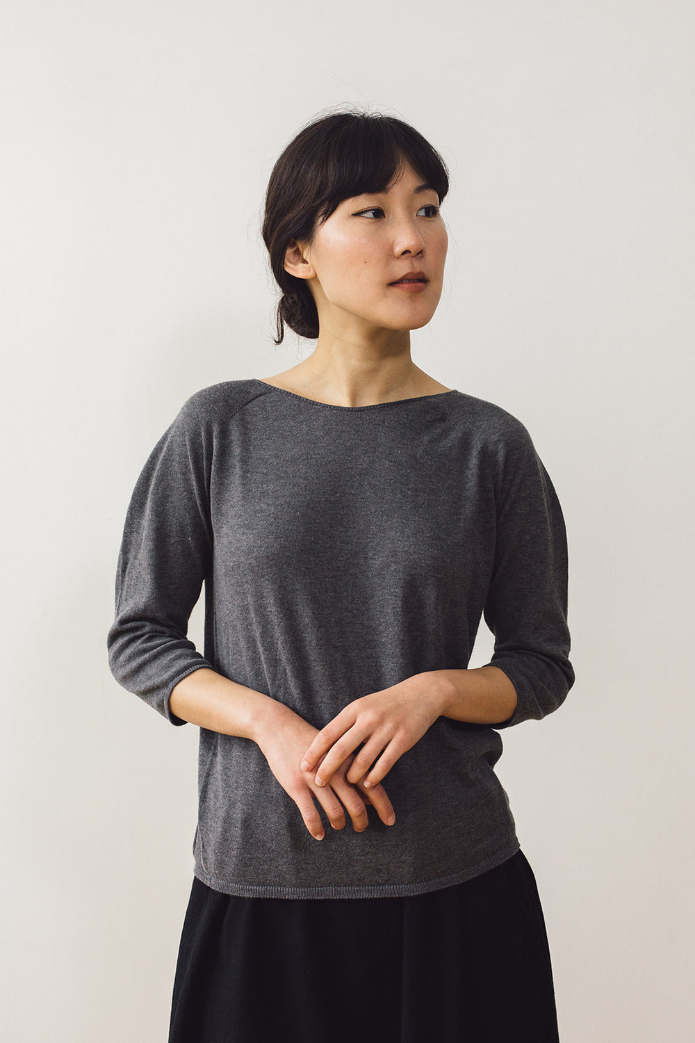 Cotton Knit Pullover, Charcoal
