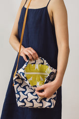 Leather Bag Navy Print