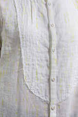 White Shirt with Green Pattern