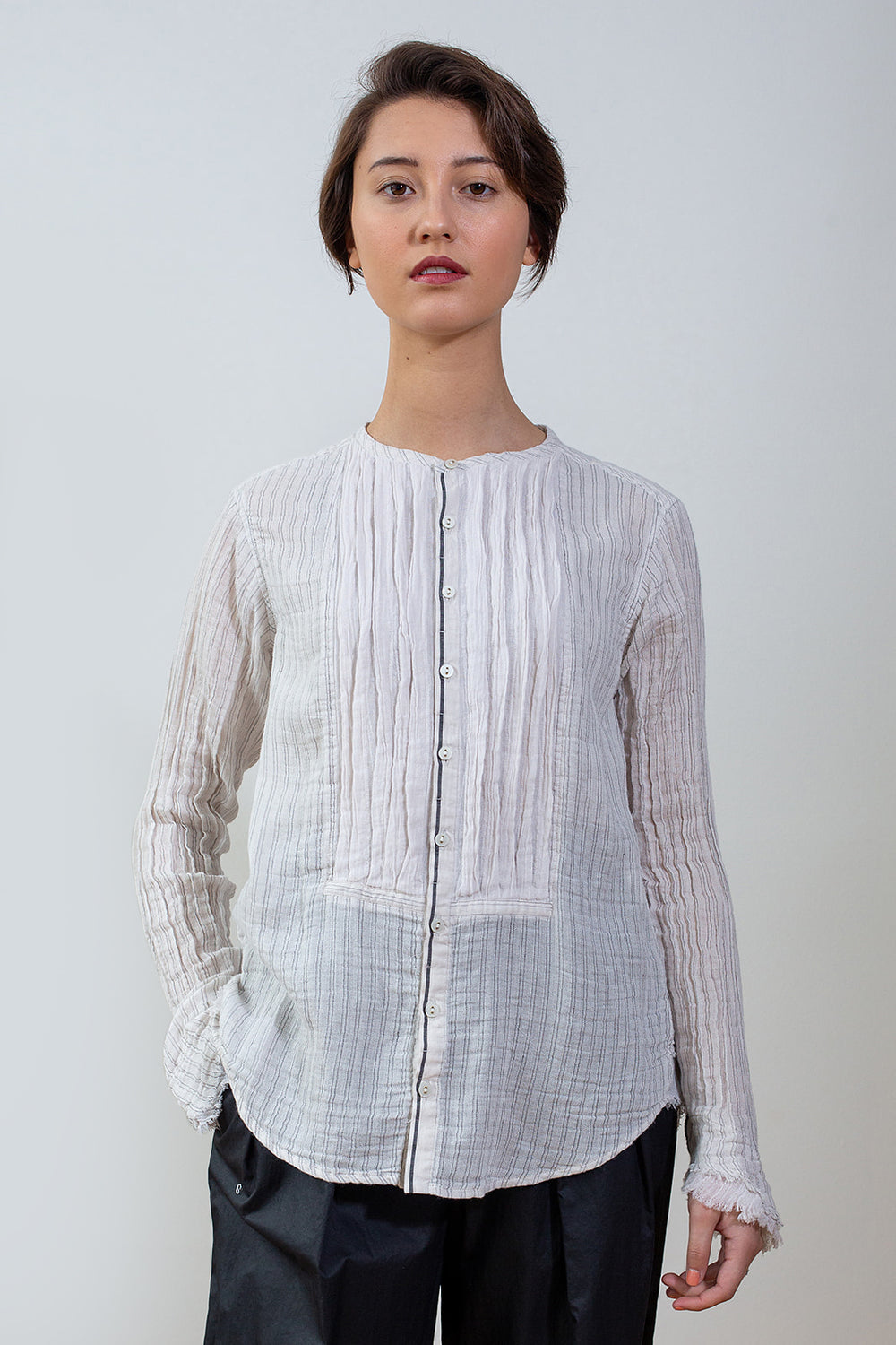 Pinstripe Collarless Blouse