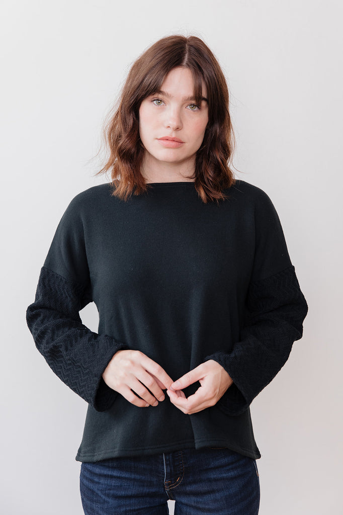 Knit Pullover with Textured Sleeves, Black
