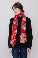 Scarf Floral, Rouge