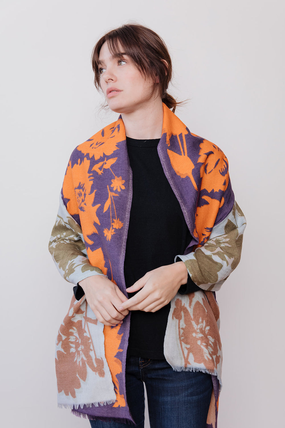 Floral Contrast Shawl, Purple