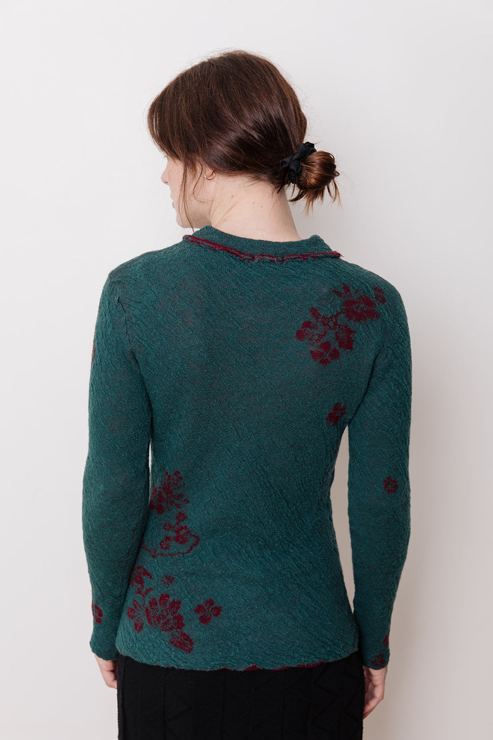 Knit Sweater with Collar, Blue Floral