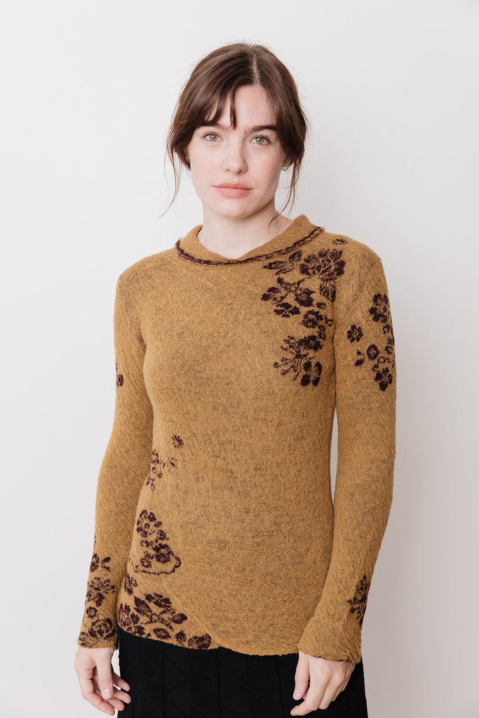 Knit Sweater with Collar, Ochre Floral
