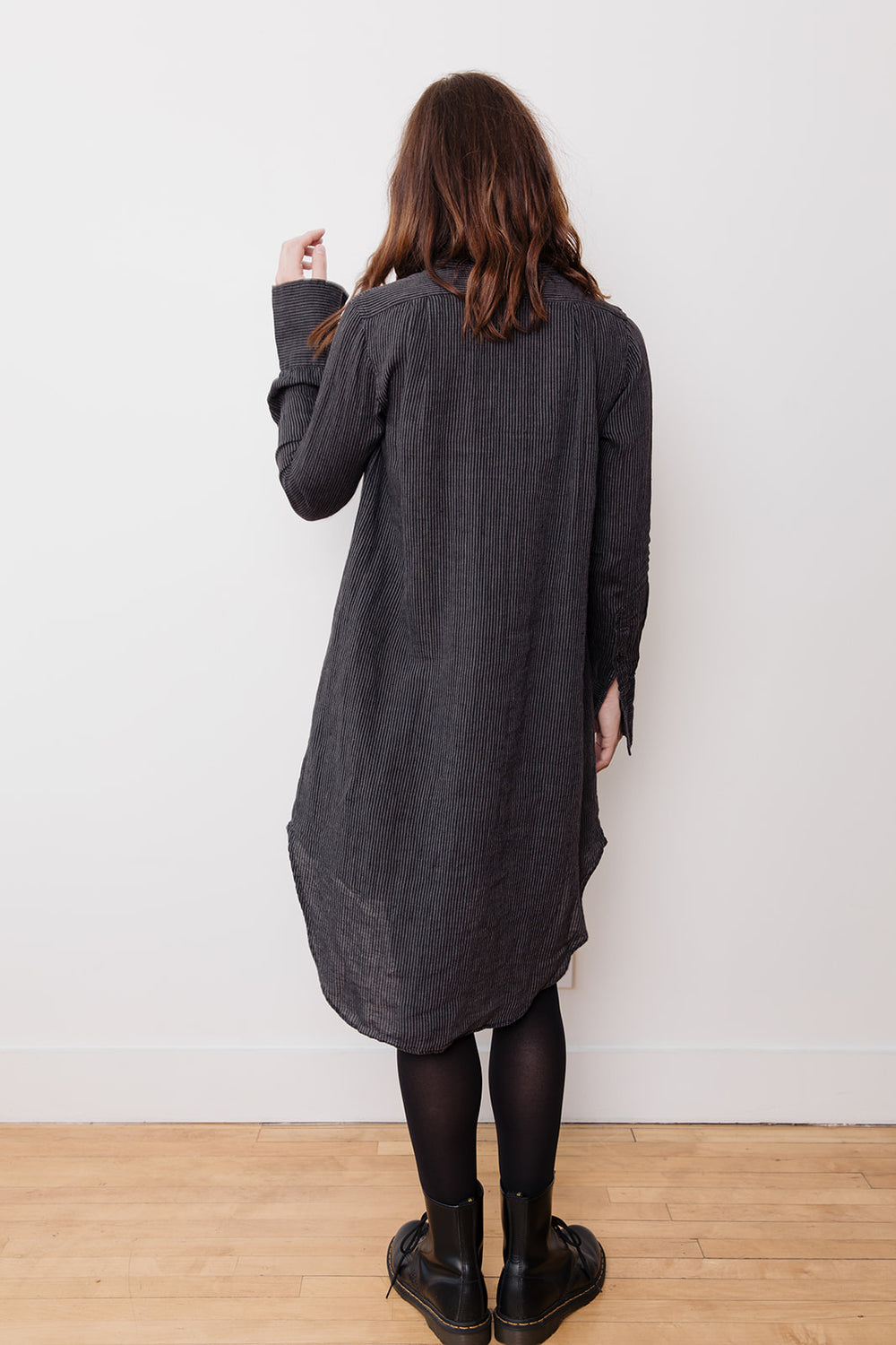 Linen Grandpa Dress, Brown Stripe