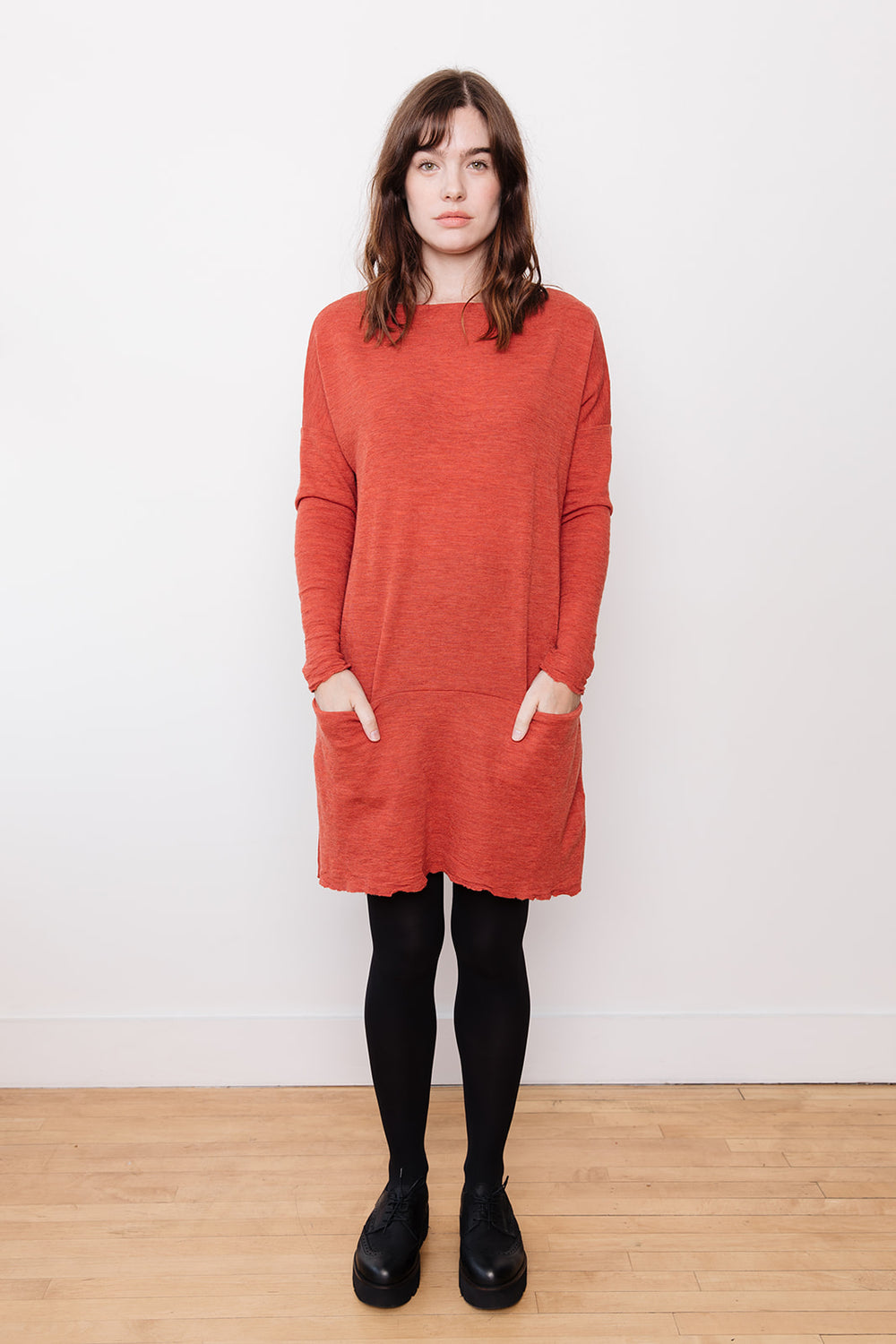 Tunic Dress with Pockets, Terracotta
