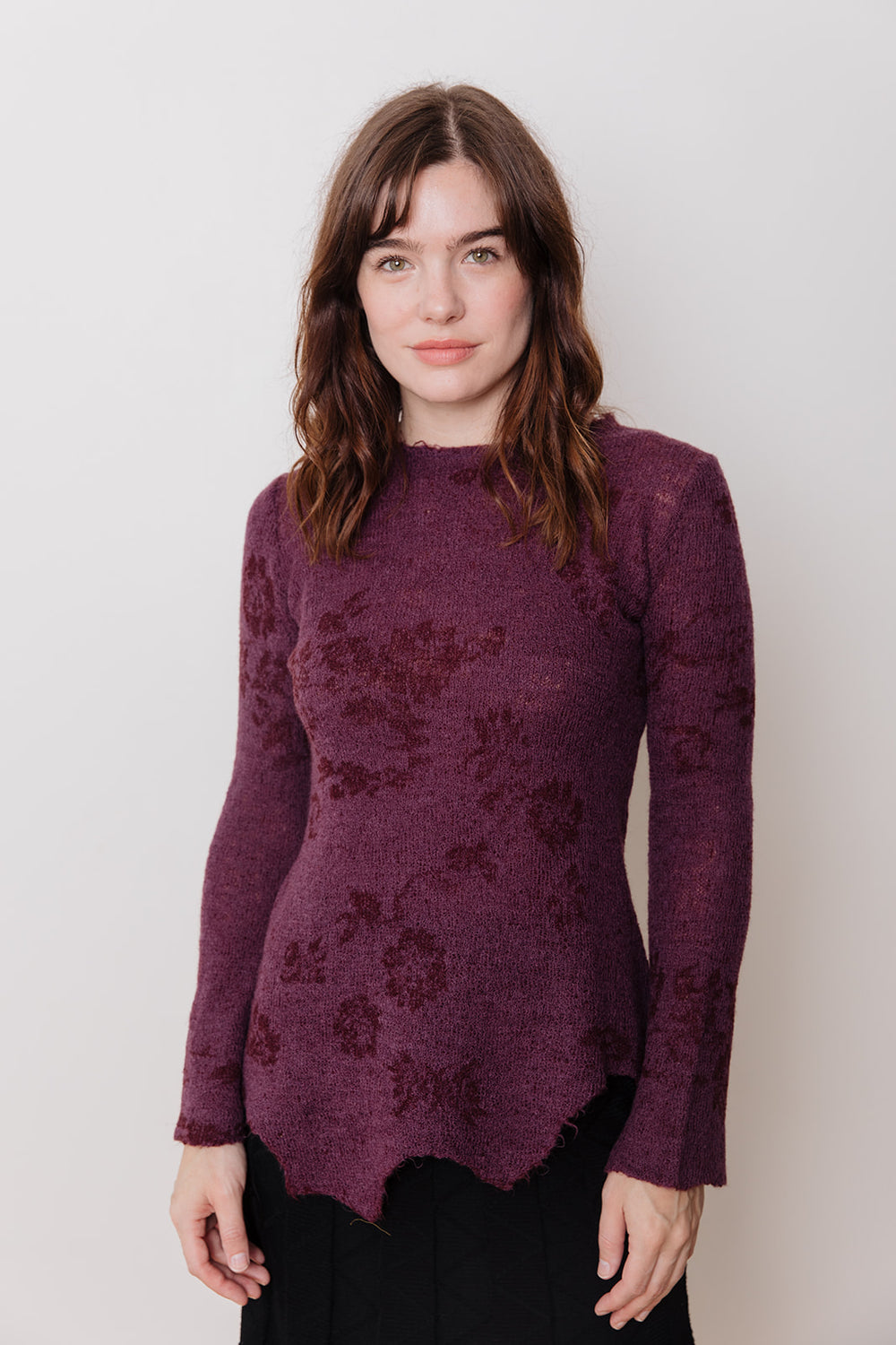 Knit Sweater with Asymmetrical Hem, Purple Floral