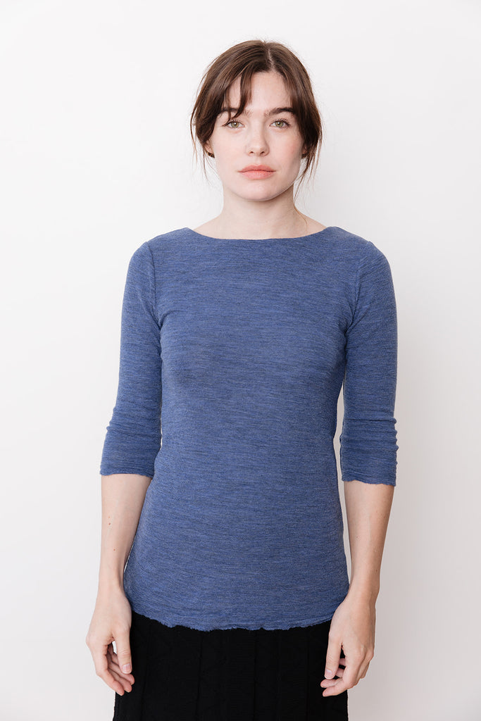 Boat Neck Top, Blue