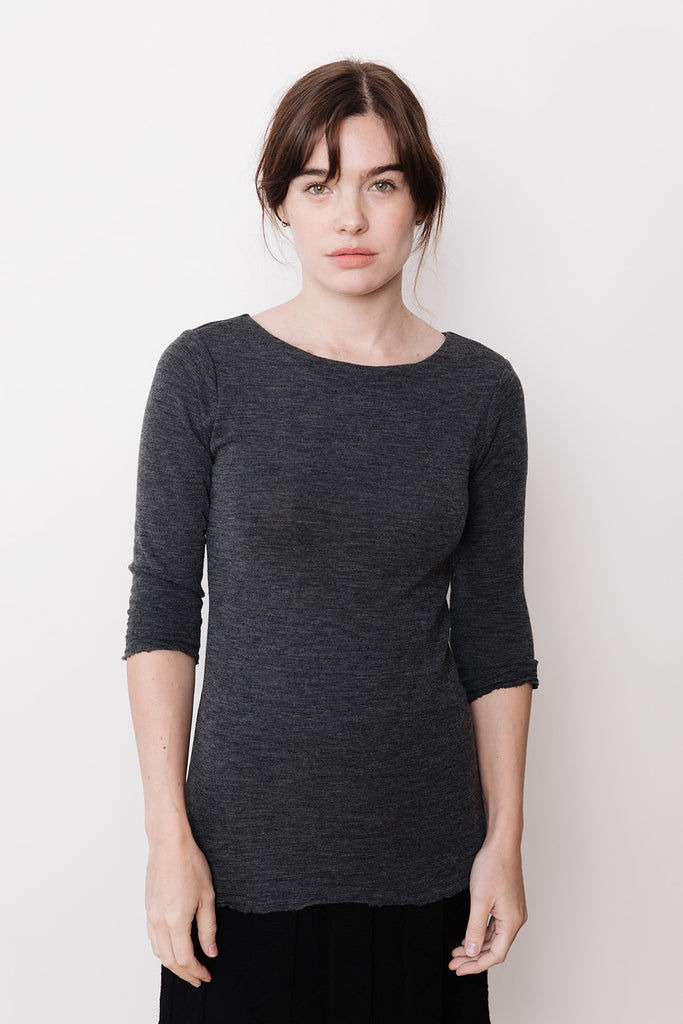 Boat Neck Top, Anthracite Grey