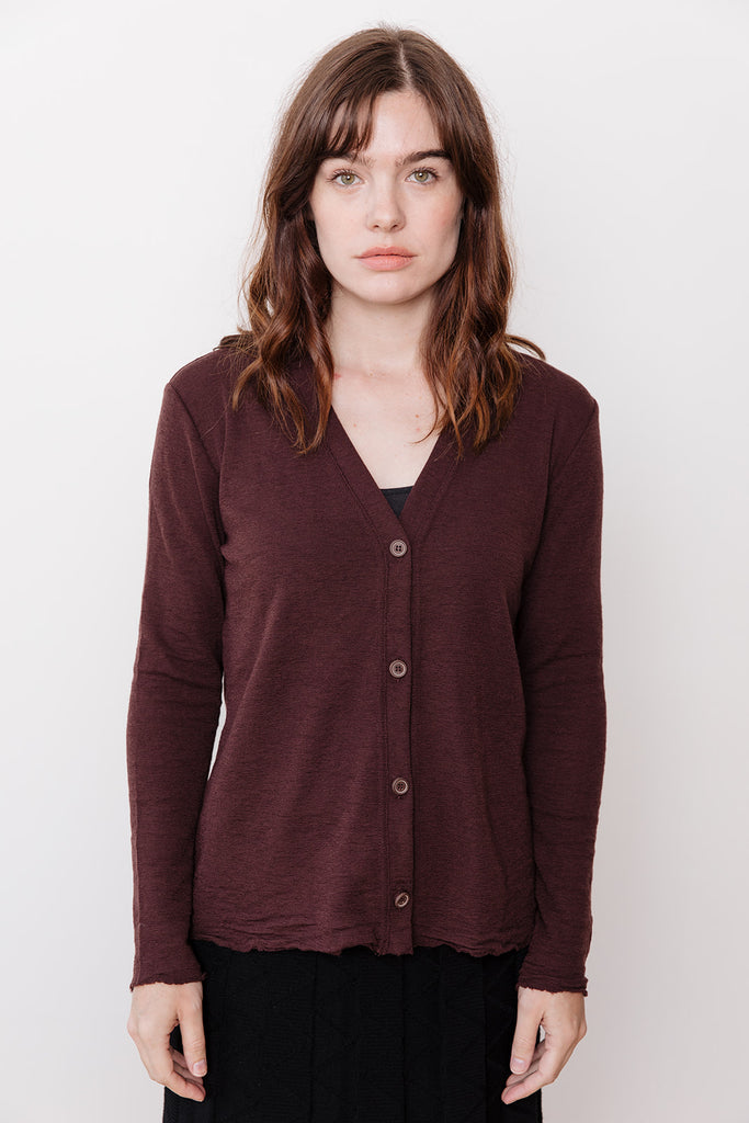 V-Neck Cardigan, Brown
